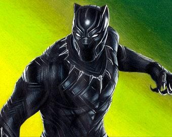 Black Panther Original Colored Pencil Drawing