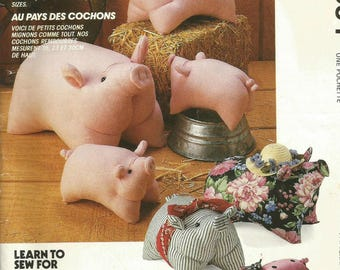 Vintage McCalls P384 Stuffed Pig in Three Sizes Sewing Craft Pattern