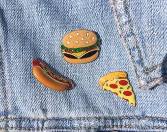 Pizza, Hot dog, & Burger - Food Lapel Pins