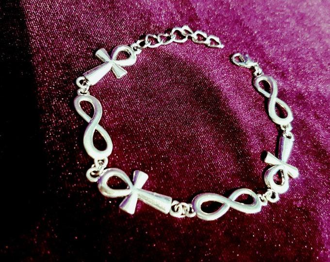 Infinity Ankh Bracelet - goth gothic egyptian immortality vampire bracelet
