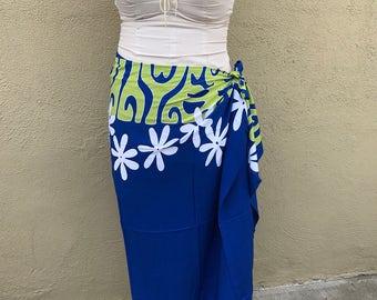 Royal blue, lime green and white tattoo tiare premium Tahitian pareo, full or half sized sarong, Polynesian dance costume