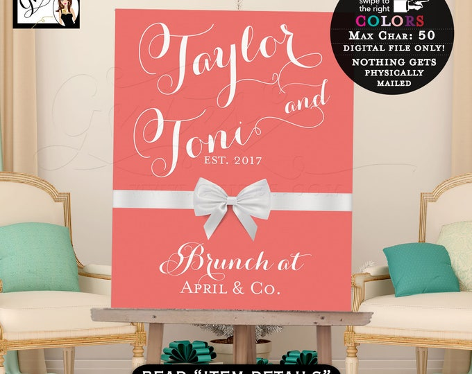 Welcome Signs, Breakfast Brunch poster customizable signs, birthday, bridal shower, couples shower, banners, table backdrops. PRINTABLE