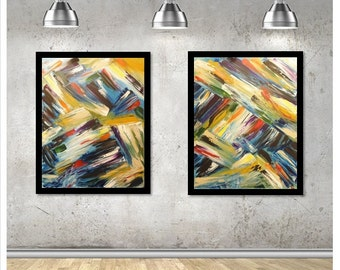 Original Abstract Set of 2 Paintings Large - Multi Colors - Blue Black Red - 16x20 Acrylic on Canvas - with black frame option!