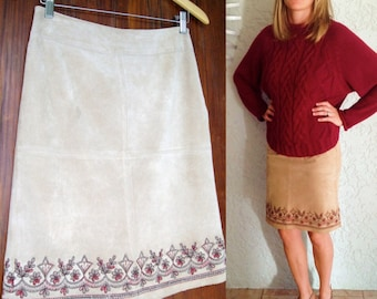 Retro Vintage Tan Suede Skirt with Maroon Floral Embroidered Hem Detail