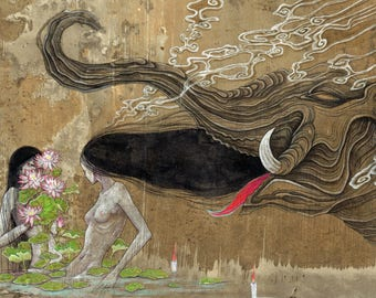 "A4 signed Fine Art Print ""Daydream II"" -lowbrow & pop surrealism art."