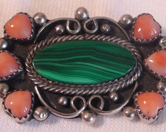 Native American Sterling Silver Malachite Pink Coral Brooch Pin
