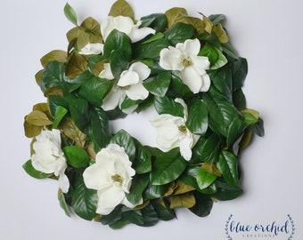 """Magnolia Wreath, Wreath, Magnolias, Cream Magnolia Wreath, White Magnolia Wreath, Home Decor, Farmhouse Decor, Magnolia, 20"""" Wreath"""