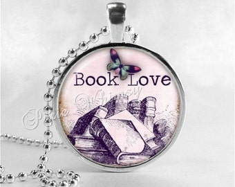 BOOK LOVERS Necklace, Writer, Author, Book, Reading, Teaching, Teacher, Read, Book Lover Jewelry, Book Nerd, Librarian, Library