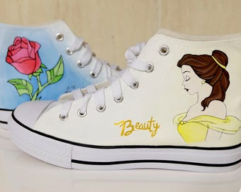 "Shoes Beauty and the Beast Painted ""Beauty is found within"" Lumière, Din don, Mrs. Potts, Chip Cup"