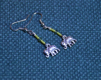 Earrings with Elephant and beads