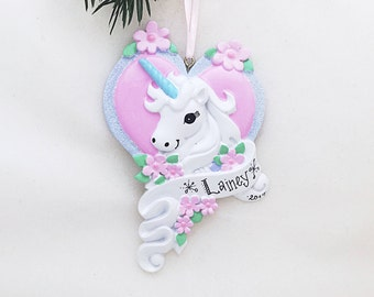Unicorn Personalized Christmas Ornament / Unicorn with Heart / Gift for Girl / Custom Name or Message