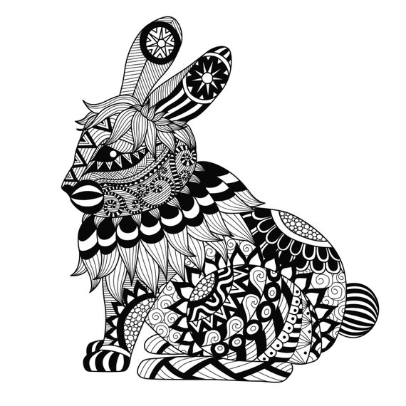 Items similar to Rabbit Coloring Page Large Easter Gift Adult Teen
