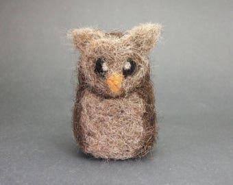 Small Needlefelted Owl, Needle Felt Animal Bird, Miniature Brown Owl, Wool Needlefelt Woodland Creature Felted Soft Sculpture