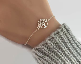 Sterling Silver Tree of Life Bracelet - Adjustable Bracelet, Family tree bracelet, Silver bracelet, Mothers Gift, Gift for Mum