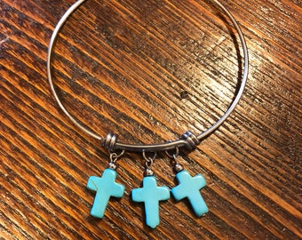 Three Turquoise Crosses Stainless Steel Bangle Bracelet