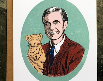 Mister Rogers Greeting Card/A2/Linocut/Stationery