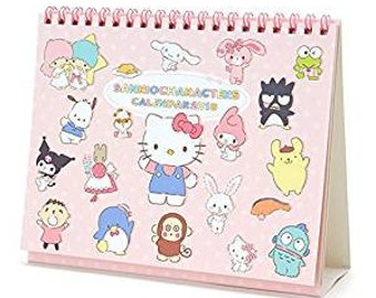 Sanrio Hello Kitty and Friends 2018 Calendar - Desktop Calendar + Sticker Set  - Gudetama Pochaco My Melody etc