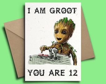 Baby Groot Guardians of the Galaxy 2 Personalised Birthday Card V2