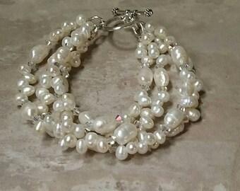 Elegance Freshwater Pearl and Swarovski Crystal 4 Strand Bracelet