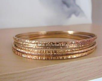 Textured Bronze Bangles Handmade Set of 3