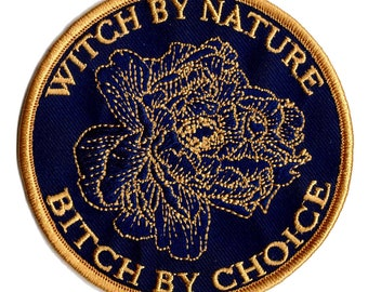 """Witch By Nature Bitch By Choice 3"""" Iron on Patch Moon Goddess Market"""
