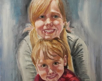 Oil painting on canvas siblings 2