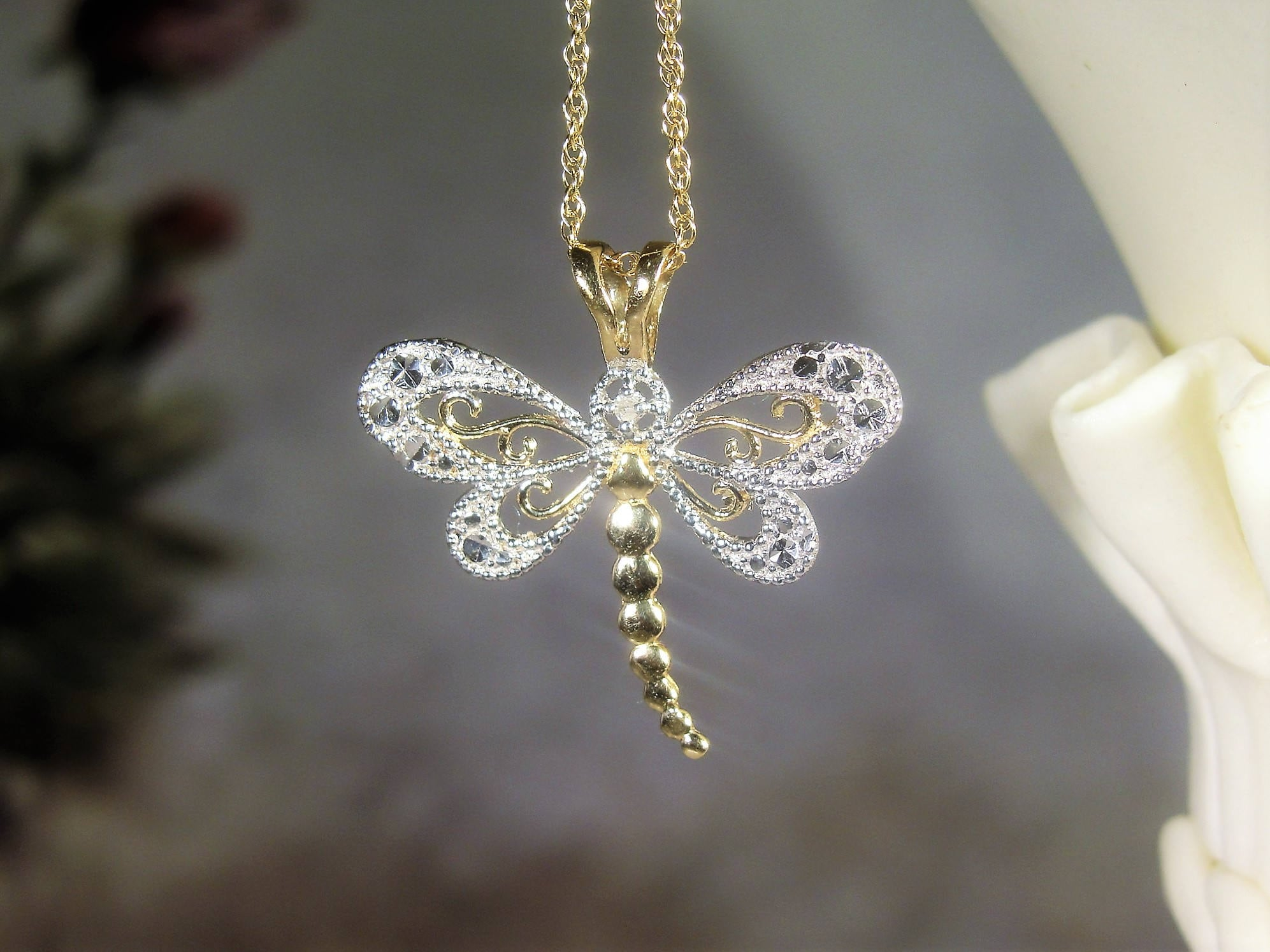 Dragonfly necklace 14k yellow gold 16 inch chain 10k white and dragonfly necklace 14k yellow gold 16 inch chain 10k white and yellow gold pendant genuine diamond filigree dragonfly vintage necklace aloadofball Gallery