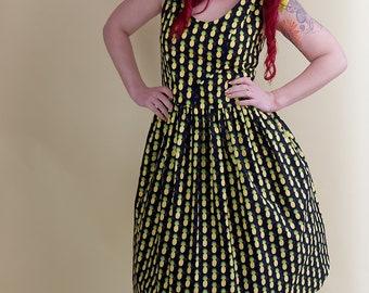 Tie Neck Pineapple Dress, Pineapple Dress, Pineapple, Pineapple Fabric, Pineapple Print, Vintage Dress, Vintage, Retro, Vintage Clothing