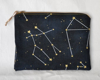 Constellations Zipper Bag | Pouch, Makeup Bag, Canvas, Toiletries Bag, Travel Bag