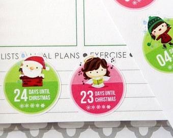 Christmas Countdown Planner Stickers for Erin Condren Planner, Filofax, Plum Paper