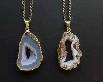Gold Plated Agate Druzy Gemstone Necklace