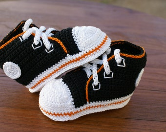 Black with Orange Outline Converse Inspired Crochet Baby Shoes