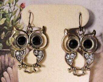 HALLOWEEN SALE 30% OFF: 1990s Owl Earrings - Black and White Rhinestone Brass Drop Earrings