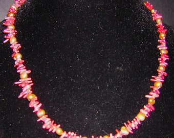 Coral and freshwater pearl one of a kind necklace
