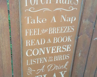 """READY TO SHIP - """"Porch Rules - Take A Nap, Feel The Breezes, Read A Book""""  - 12x24 - Orange"""