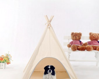 Natural Unbleached Canvas Pet teepee with padded mat