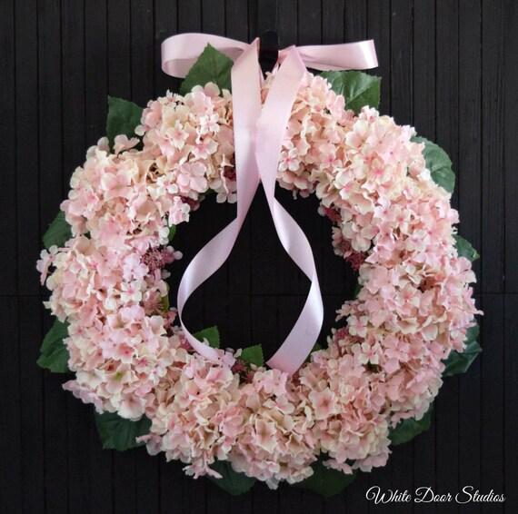"""Pink Hydrangea Front Door Wreath - 22"""" Diameter"""