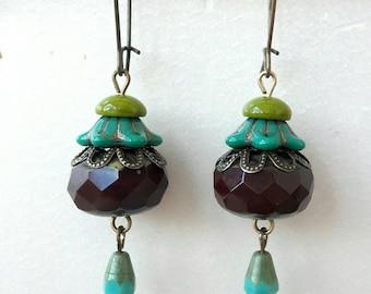 Bohemian Brown Blue green floral earrings