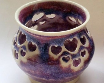 Purple, Magenta and Blue Votive Candle Holder or Luminary with Heart Cut-outs - Wheel Thrown Pottery