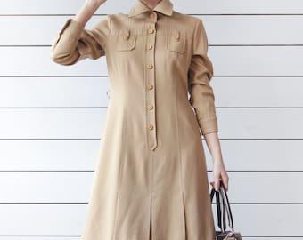 70s vintage brown beige long sleeve knee length simple day dress M