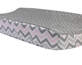 Pink/Gray Chevron - Gray Minky Changing Table Cover