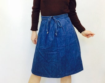 Vintage jean Denim skirt denim wrap skirt vintage wrap skirt denim highwaisted skirt 70s skirt wrap denim skirt 70s vintage denim skirt