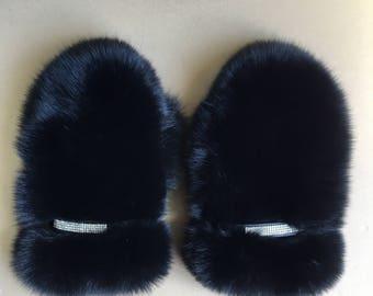 Black Saga Fox Fur Mittens All Fur Gloves