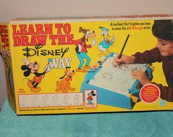 Vintage Learn To Draw The Disney Way Hasbro  1981 Drawing Board