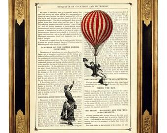 Couple Lady Gentleman Hot Air Balloon Love - Vintage Victorian Book Page Art Print Steampunk Valentine's Day