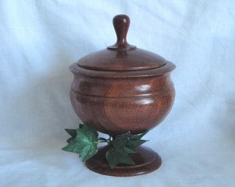 Vintage Wood Apothecary Jar / Urn / Candy orTrinket Bowl Lidded on Pedestal Footed