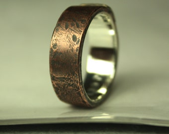 Custom order for Adam. Smooth oxidized satin top layer brass MENS ring. OAAK. Polished oxidized sterling silver inside of the ring.