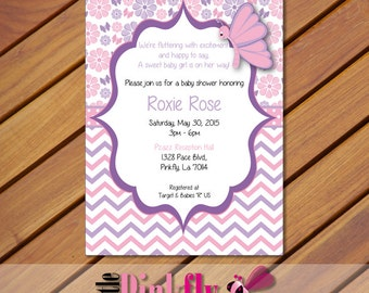 Pink and Purple Butterfly Baby shower invitation, butterfly theme decor, butterfly2