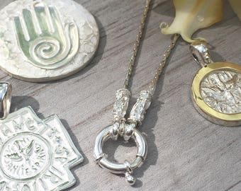Mariner clasp necklace for pendants.sterling silver.