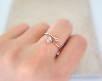 14K rose gold ring/ Delicate gold Adjustable CZ Ring / Round CZ  Open ring / Dainty CZ ring / Dual Gold Ring / 14K gold ring